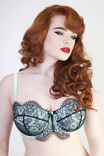 Playful Promises Cordelia Absinthe Bra 36DD Mint Green Black Lace