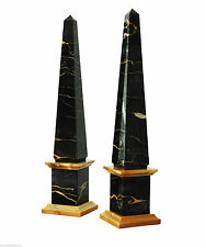 Obelisco in Marmo Giallo e Portoro Marble Obelisk Design Made in Italy H.40cm