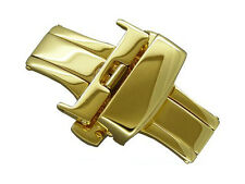 Gold stainless steel butterfly deployment clasp 14mm