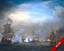 NAVAL BATTLE OF TEXEL PAINTING DUTCH ENGLISH FRENCH WAR ART REAL CANVAS PRINT