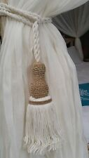 Natural Cotton & String Tie Backs / Tassels - Pair