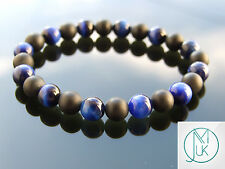 Blue Tigers Eye/Onyx Matt Natural Gemstone Bracelet Elasticated 7-8'' Healing