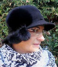 Damenhut Wollhut Anlasshut Rollbar Knautschbar Mütze Damenmütze