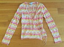 MISSONI ITALY Zig-Zag Stripe Pink Knit Wrap Cardigan Sweater Sz IT 42 US 6