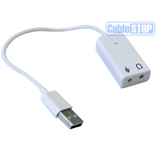 USB Sound Adapter to 3.5mm Mini Jack Audio & Microphone Mic for Skype PC Laptop