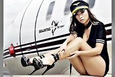 A232_CLASSIC MODERN PIN-UP GIRL IN AIRLINE STEWARDESS OUTFIT_NEW PHOTO PRINT.
