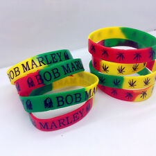 20pcs Silicone Wristband Rubber elastic Bracelet Bob Marley Wholesale Mixed Lot