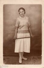 BE101 Carte Photo vintage card RPPC Femme woman mode fashion pull rayure jupe