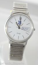 Swiss ETA Movement Men's Watch Stainless Steel Expansion Band Day Date Silver