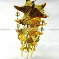 Chinese Oriental Lucky Metal 5 Rods Pagoda Feng Shui Brass Wind Chime Bell S2