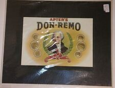 Apters Don Remo Tobacco Cigar box lid only Framed Store Display Smoke Shop
