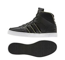NIB Women's adidas NEO HOOPS VULC MID SHOES Black/Gold 9.5 Style F98811