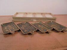 ART DÉCO 1930 4X Cendriers Joueurs de Carte Bronze Patiné Signé Max Le Verrier