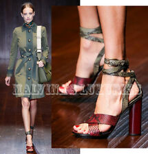 $1,250 GUCCI SHOES PYTHON LEATHER CANDY WRAP STRAPPY HIGH HEEL SANDALS 38 8