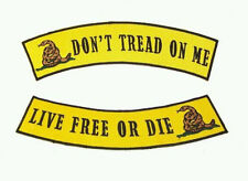 Dont Tread On me Live Free or Die Back Patch Rockers Set Tea Party Patriot guard