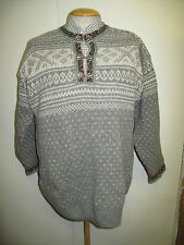 Traditional Vintage Nordic Norwegian Pattern Clasp Neck Jumper Size M 38-42""