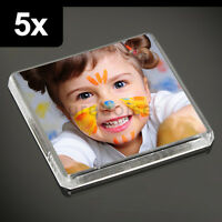 5x Clear Acrylic Blank Fridge Magnets 58 x 58 mm | Square Size Photo