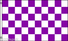 Purple and White Checkered Check 5'x3' Flag !