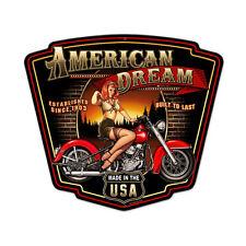 American Dream Harley 50er Jahre Pin Up USA Retro Sign Blechschild Schild Groß