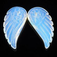S00297 30mm Two carved opalite angel wing pendant beads