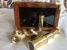 Fine 3 Pic. Set Of Brass Telescop, Binocular & Small Sand Clock In Nice Wood Box