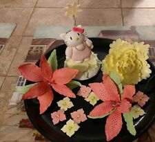 "HANDMADE 4"" HELLO KITTY CAKE TOPPER, PEONY & LILIES: Decorate Your Own Cake!!"