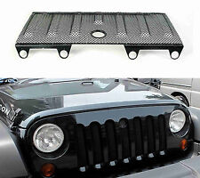 Black 3D Mesh Grill Insert Cover Hood Lock Hole For 2007-2016 Jeep Wrangler JK