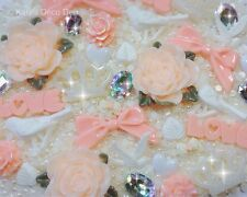 'Antique Peach' Decoden Kit Shabby Chic, Vintage Style Cabochons, Jewels, Pearls