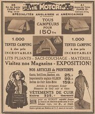Z8555 THE MOTORIST tentes camping - Pubblicità d'epoca - 1931 Old advertising