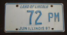 """ILLINOIS LOW NUMBER  LICENSE PLATE """" 72 PM """"  TV  1987   ILL 87   IL"""