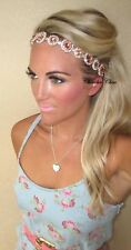 Dusky Peach Pink Silver Princess Diamond Hippy Jewel Hair Head Band Choochie