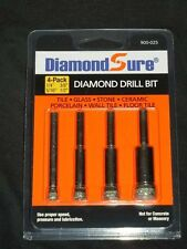 "DiamondSure Lot of 4-Diamond Hole Saw 1/4"" 5/16"" 3/8"" 1/2"" Tile Glass Grani"