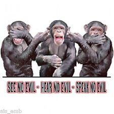 Speak No Evil Monkey HEAT PRESS TRANSFER for T Shirt Tote Sweatshirt Fabric #620