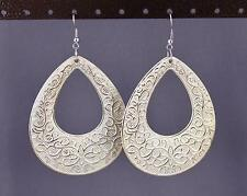Gold White teardrop earrings big huge giant lightweight dangle scroll oval