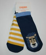 New Gymboree Lion Stripe Socks 2 Pack Gripper Size 2T-3T NWT Island Hopper Line