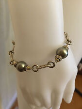 David Yurman Tahitian Pearl Diamond Silver 18K Gold Bracelet 8""