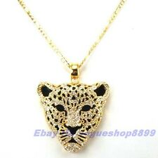 "REAL REGAL 18K YELLOW GOLD GP PANTHER PENDANT 31"" NECKLACE SOLID FILL GEMSTONE"