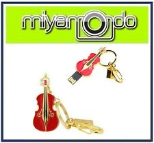 Violin Shape Metal Crystal Key Chain (Red) 32GB USB Drive Thumb Drive Pen