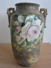 "Antique Japanese pottery double handle floral vase 12.25"" Nippon ?"