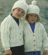 "Aran Cardigan/.Jacket Hat Knitting Pattern Girls & Boys 22-32""  606"