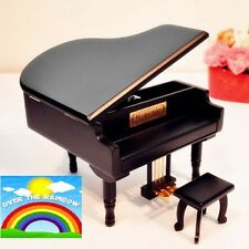 BLACK WOOD PIANO WIND UP MUSIC BOX : SOMEWHERE OVER THE RAINBOW