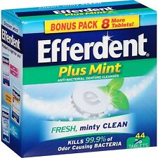 EFFERDENT PLUS MINT Anti-Bacterial Denture Cleanser Fresh Minty Clean 44 Tablets
