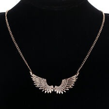 Statement Gold Tone Angel Wings Pendant Long Chain Necklace Xmas Punk Jewellery