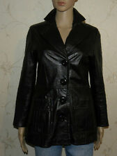 Vintage Low Cut Black Leather AALTONEN Fitted Button Riding Classic Jacket Sz40