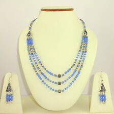 925 SILVER OVERLAY BEADED NECKLACE EARRINGS NATURAL CHALCEDONY GEMSTONE 48.5Gm.