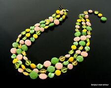 Retro Vintage 60s-70s bunte Plastik Halskette Kette Collier Necklace, Collana