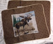 Al Agnew MOOSE Rustic Lodge Cabin country Tapestry Standard Pillow Sham Set NEW
