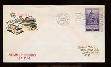US Event Cover 1941 Summer Began 1:34 PM in Summerville, SC as canceled