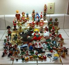 Large Lot Vintage Christmas Ornaments Wood Cloth Plastic Resin Adler Japan China