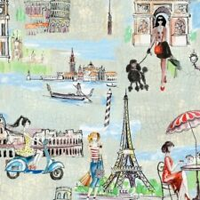 BRIDGET'S TRAVELS PARIS EIFFEL TOWER CAFE FABRIC